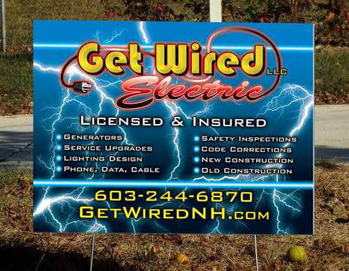 Get Wired Yard Sign